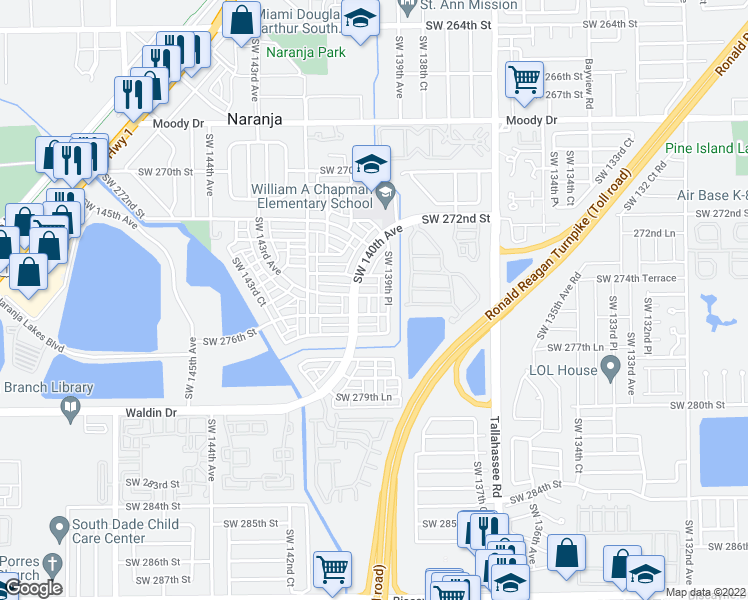 map of restaurants, bars, coffee shops, grocery stores, and more near 27513 Southwest 139th Place in Homestead