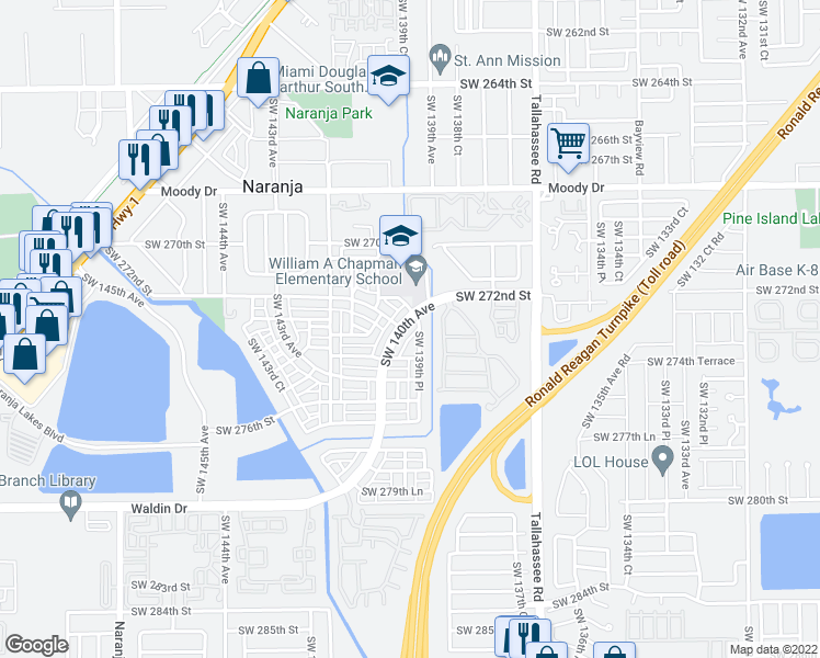 map of restaurants, bars, coffee shops, grocery stores, and more near 13987 Southwest 272nd Street in Homestead