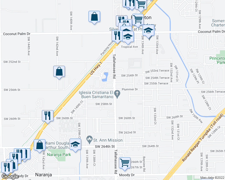 map of restaurants, bars, coffee shops, grocery stores, and more near 13710 Southwest 256th Street in Naranja