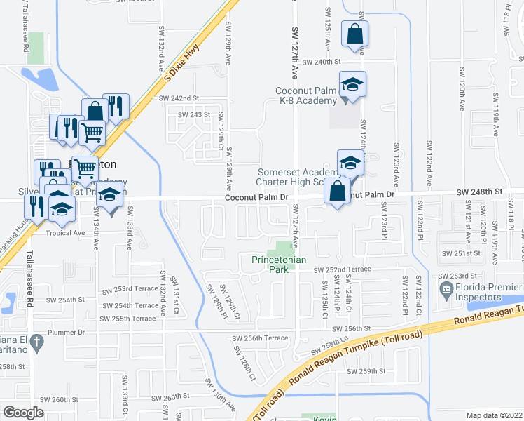map of restaurants, bars, coffee shops, grocery stores, and more near 24853 Southwest 128th Court in Homestead