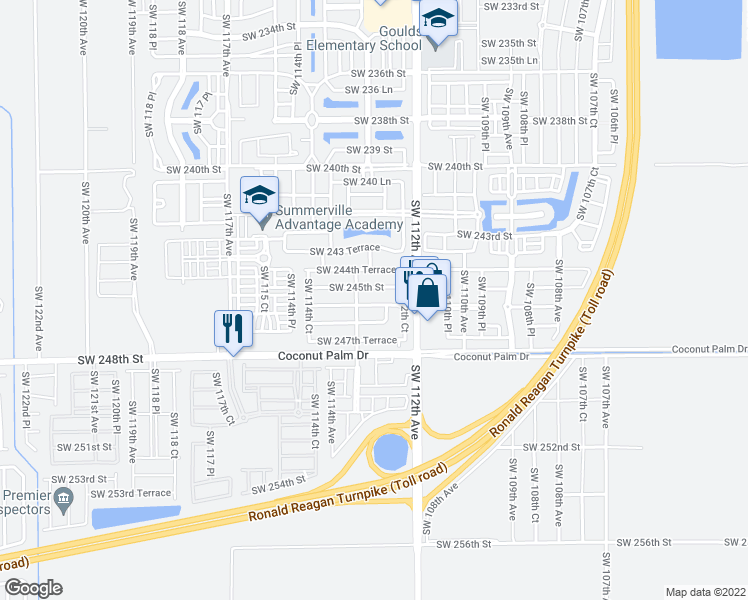 map of restaurants, bars, coffee shops, grocery stores, and more near 11277 Southwest 246th Street in Homestead