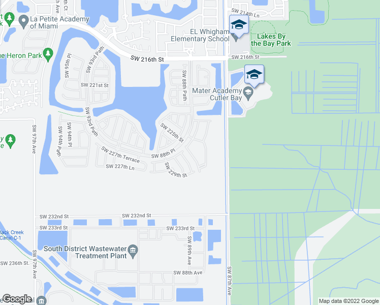 map of restaurants, bars, coffee shops, grocery stores, and more near 22831 Southwest 88th Place in Cutler Bay