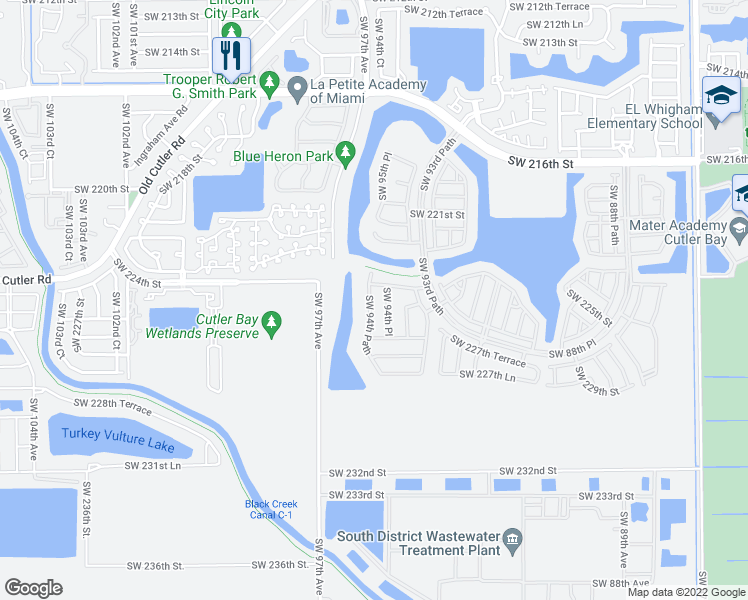 map of restaurants, bars, coffee shops, grocery stores, and more near 22467 Southwest 94th Path in Cutler Bay