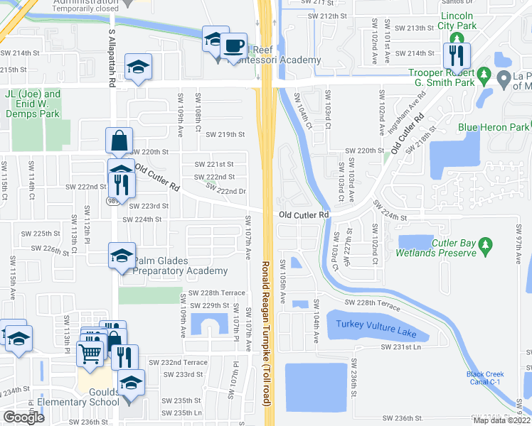 map of restaurants, bars, coffee shops, grocery stores, and more near Ronald Reagan Turnpike in Miami