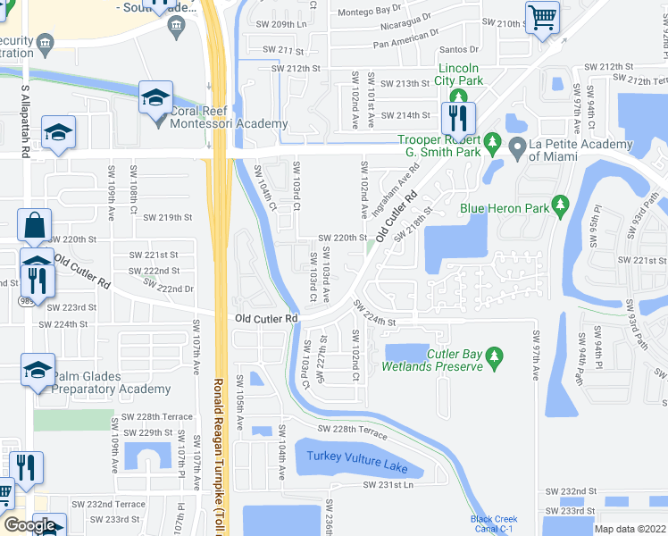 map of restaurants, bars, coffee shops, grocery stores, and more near 22213 Southwest 103rd Avenue in Cutler Bay