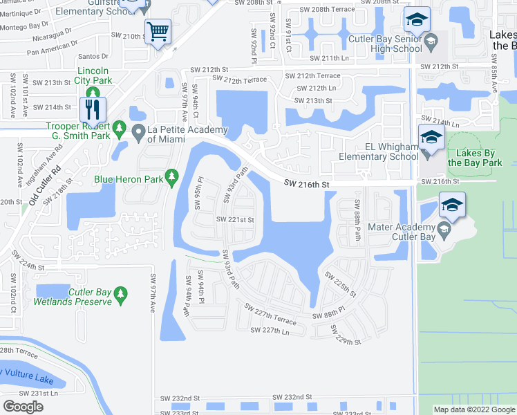 map of restaurants, bars, coffee shops, grocery stores, and more near 22001 Southwest 92nd Place in Cutler Bay