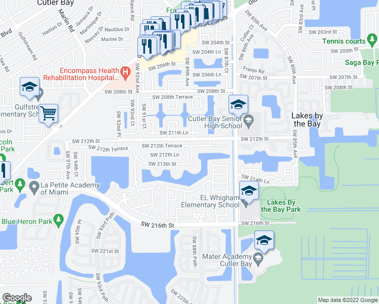 map of restaurants, bars, coffee shops, grocery stores, and more near 21232 Southwest 88th Place in Cutler Bay