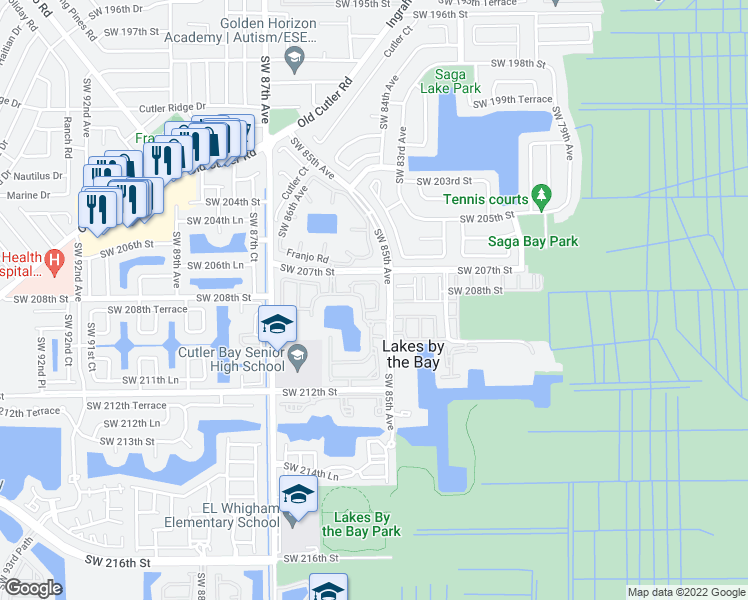 map of restaurants, bars, coffee shops, grocery stores, and more near 20826 Southwest 85th Court in Cutler Bay