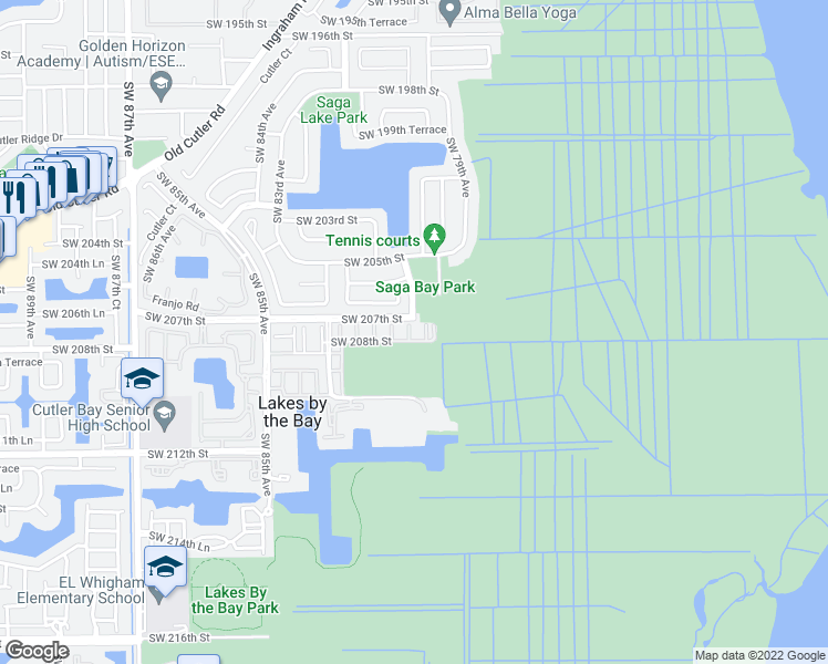 map of restaurants, bars, coffee shops, grocery stores, and more near 20741 Southwest 80th Court in Cutler Bay