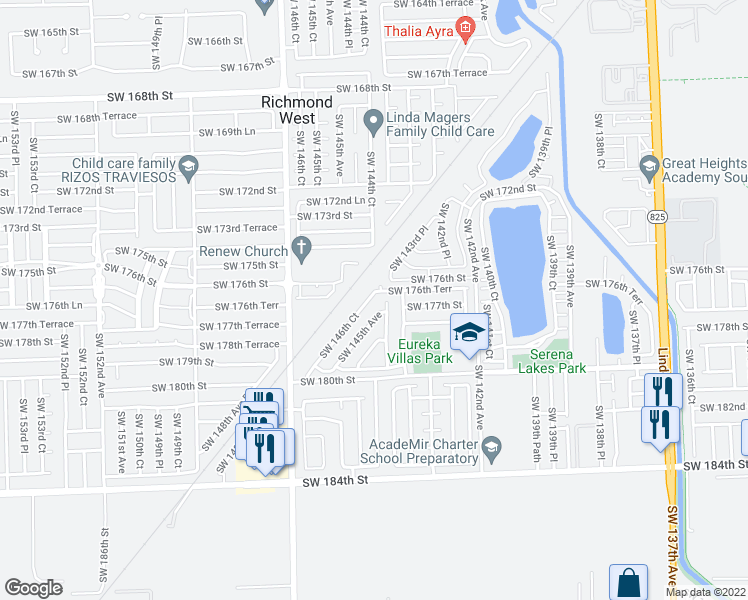 map of restaurants, bars, coffee shops, grocery stores, and more near 17655 Southwest 146th Court in Miami