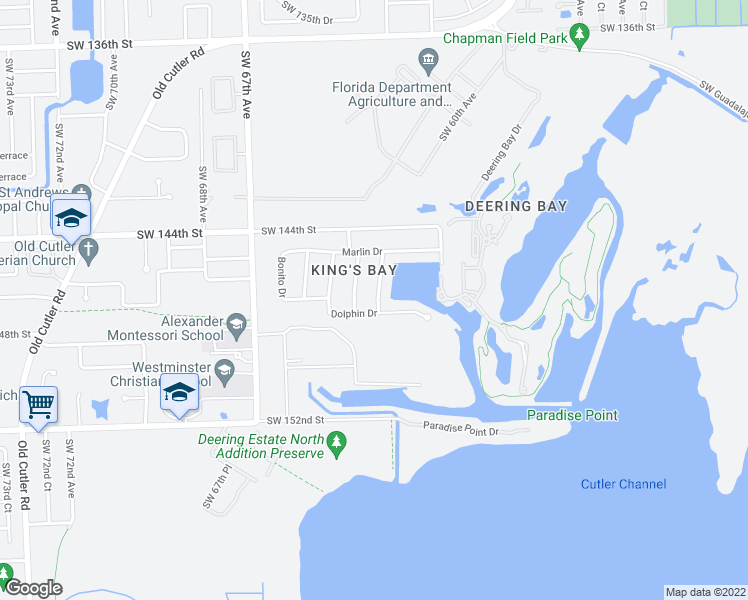 map of restaurants, bars, coffee shops, grocery stores, and more near 14700 Sailfish Drive in Coral Gables