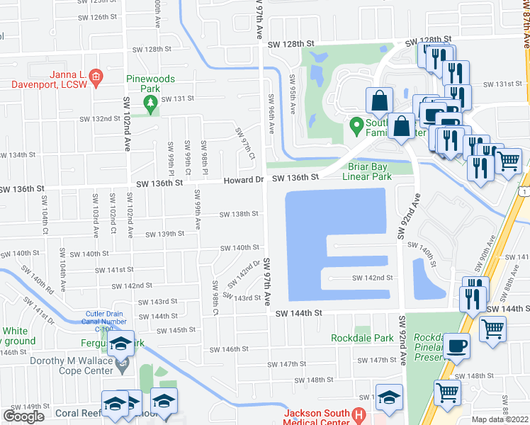 map of restaurants, bars, coffee shops, grocery stores, and more near 9701 Southwest 138th Street in Miami
