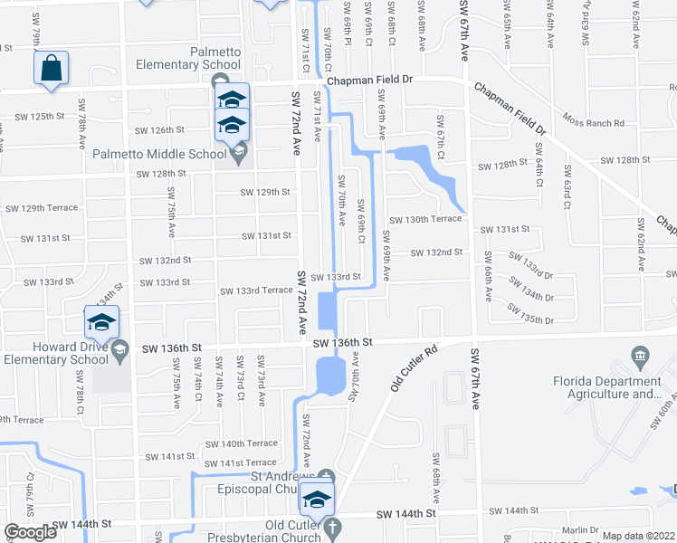 map of restaurants, bars, coffee shops, grocery stores, and more near 13240 Southwest 70th Avenue in Miami