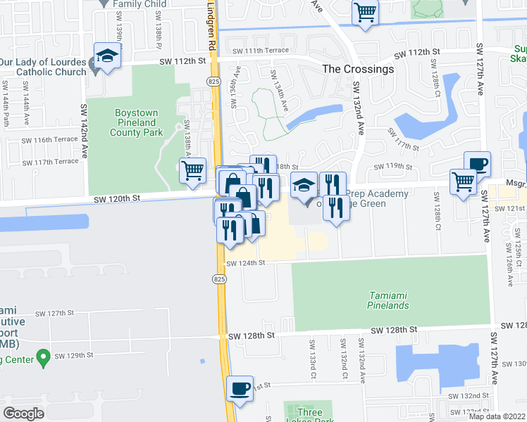 map of restaurants, bars, coffee shops, grocery stores, and more near 13440 Southwest 120th Street in Miami