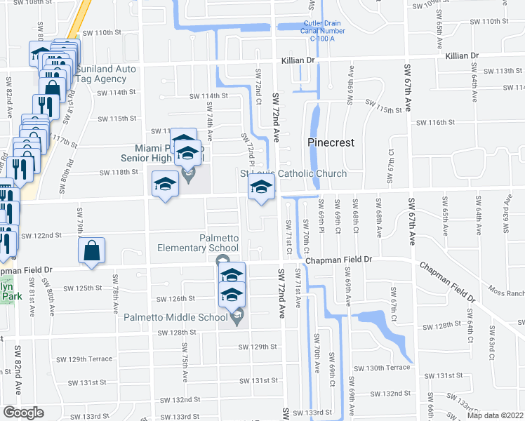 map of restaurants, bars, coffee shops, grocery stores, and more near 7270 SW 120th St in Miami