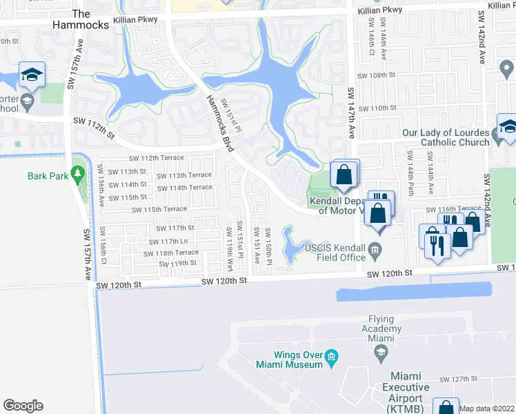 map of restaurants, bars, coffee shops, grocery stores, and more near 15082 Southwest 115th Terrace in Miami
