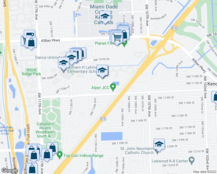 map of restaurants, bars, coffee shops, grocery stores, and more near 7 Southwest 112th Street in Miami
