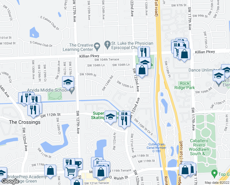 map of restaurants, bars, coffee shops, grocery stores, and more near 10656 Southwest 123rd Place in Miami