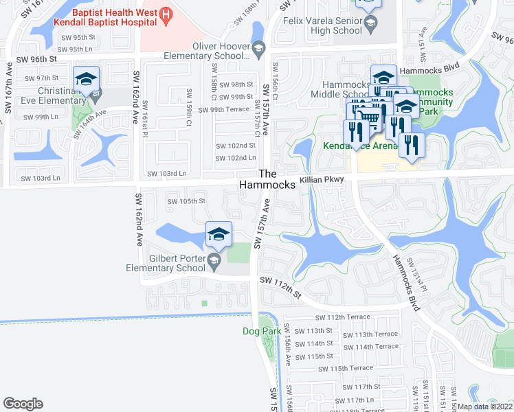 map of restaurants, bars, coffee shops, grocery stores, and more near 10981-11013 Southwest 157th Avenue in Miami