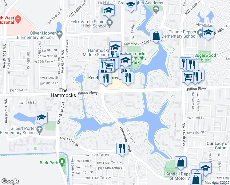 map of restaurants, bars, coffee shops, grocery stores, and more near 15280 Southwest 104th Street in Miami