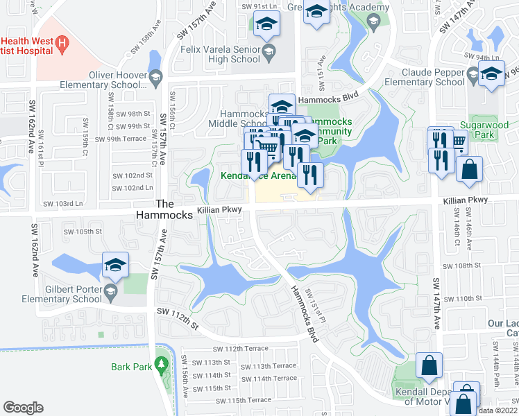 map of restaurants, bars, coffee shops, grocery stores, and more near 15270 Southwest 104th Street in Miami