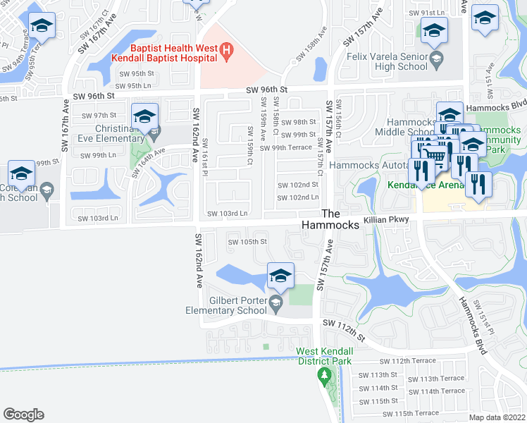 map of restaurants, bars, coffee shops, grocery stores, and more near Southwest 103rd Lane in Miami