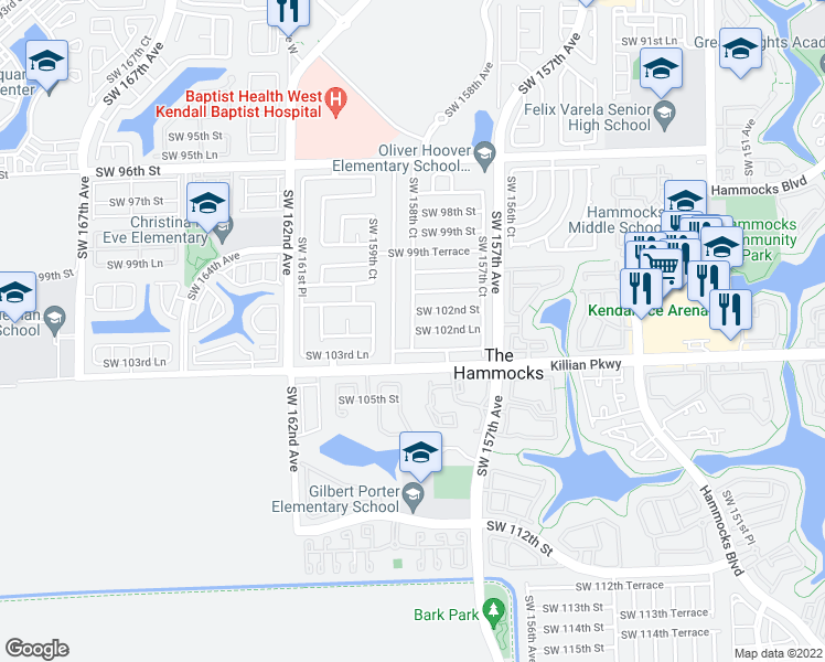 map of restaurants, bars, coffee shops, grocery stores, and more near SW 102nd Ln in Miami