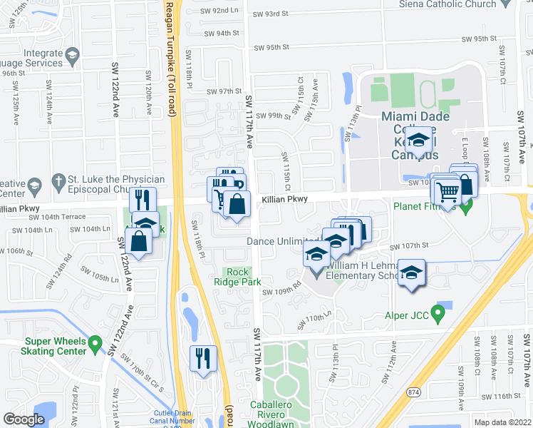 map of restaurants, bars, coffee shops, grocery stores, and more near 11620 Southwest 104th Street in Miami