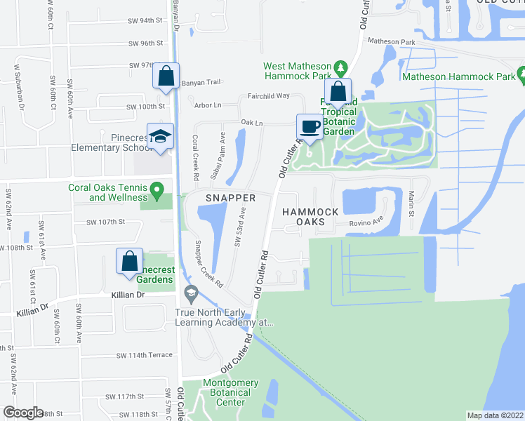 map of restaurants, bars, coffee shops, grocery stores, and more near 10550 Old Cutler Road in Coral Gables