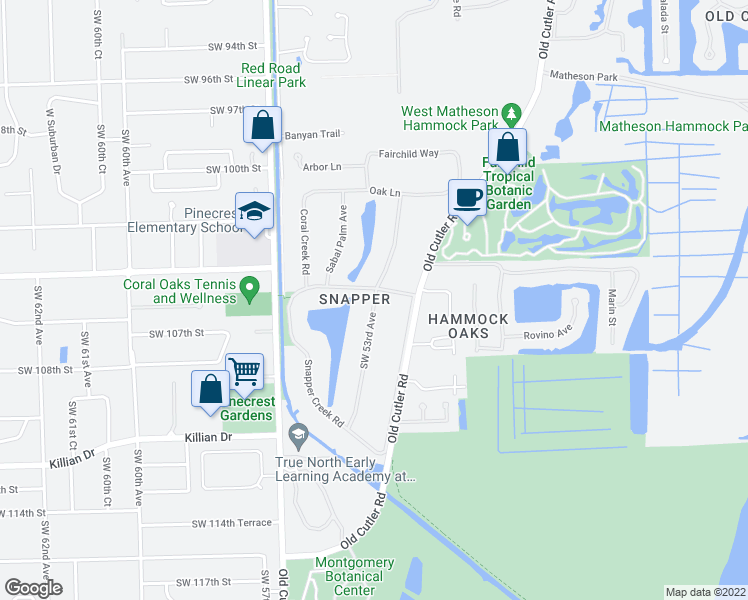 map of restaurants, bars, coffee shops, grocery stores, and more near Lakeside Drive in Coral Gables