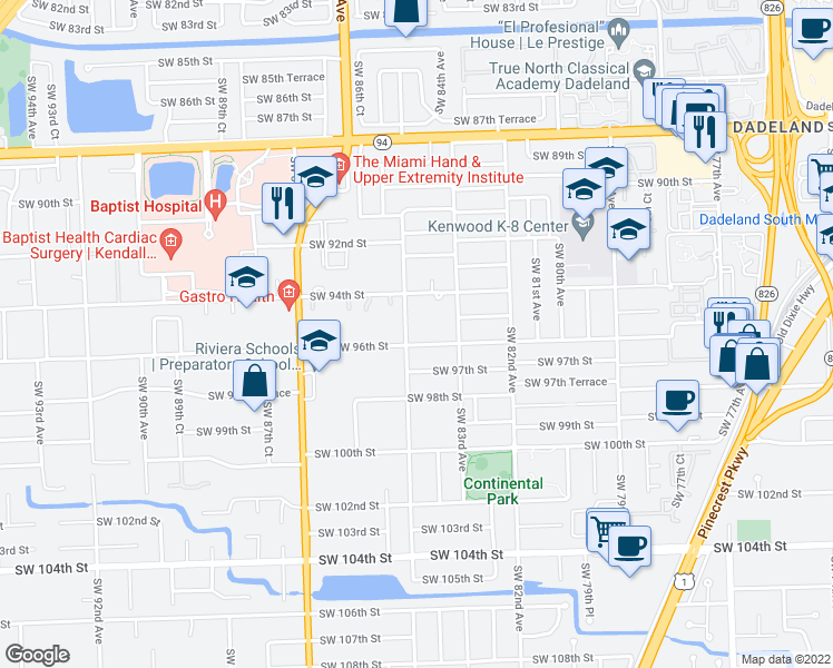map of restaurants, bars, coffee shops, grocery stores, and more near 8395 Southwest 96th Street in Miami
