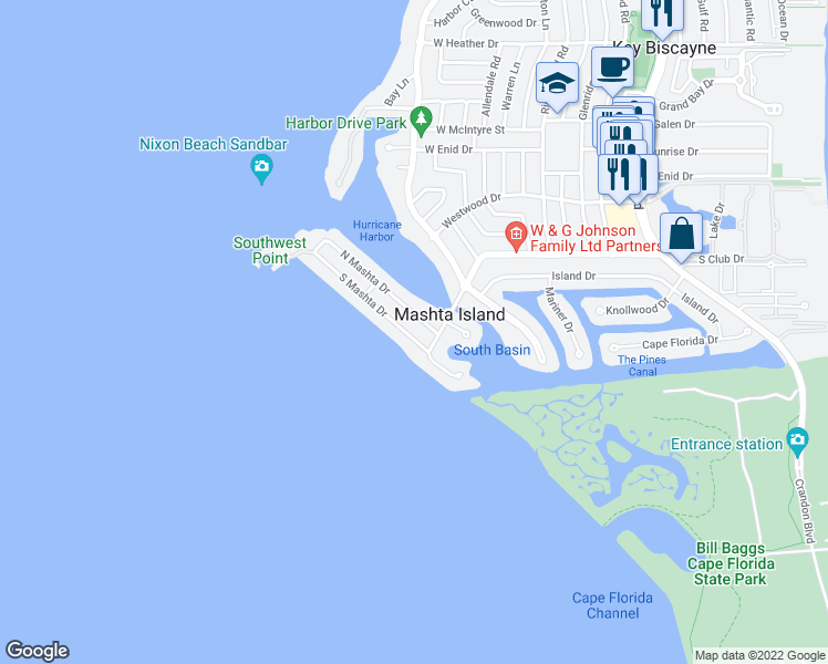 map of restaurants, bars, coffee shops, grocery stores, and more near 531 South Mashta Drive in Key Biscayne