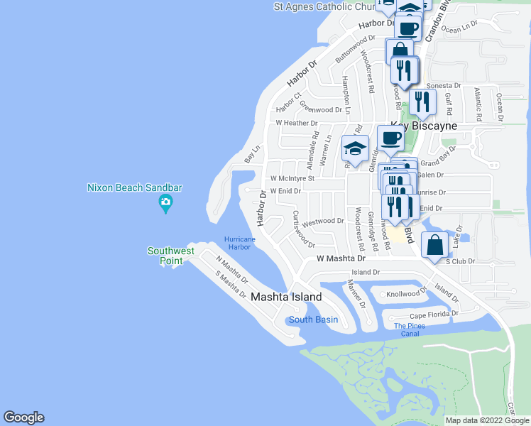 map of restaurants, bars, coffee shops, grocery stores, and more near 685 Harbor Drive in Key Biscayne