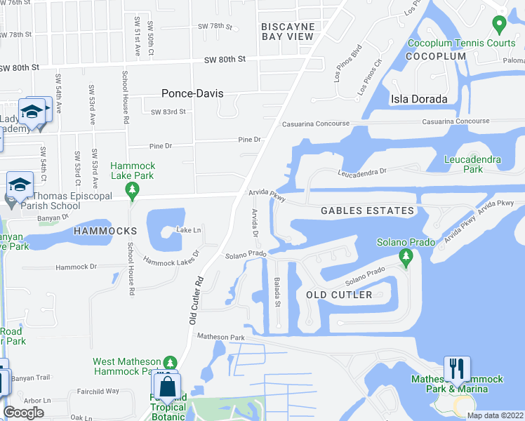 map of restaurants, bars, coffee shops, grocery stores, and more near 8815 Arvida Drive in Coral Gables