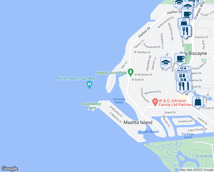 map of restaurants, bars, coffee shops, grocery stores, and more near 15 Harbor Point in Key Biscayne