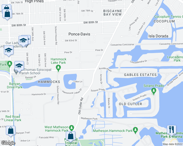 map of restaurants, bars, coffee shops, grocery stores, and more near 8800 Old Cutler Road in Coral Gables
