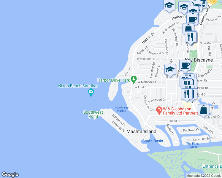 map of restaurants, bars, coffee shops, grocery stores, and more near 9 Harbor Point in Key Biscayne