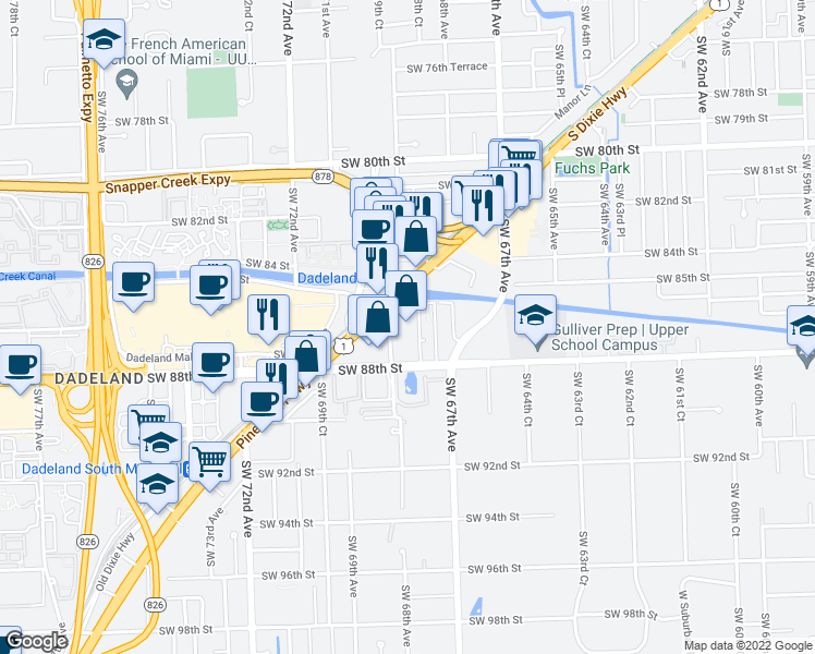 map of restaurants, bars, coffee shops, grocery stores, and more near 8609 Southwest 68th Court in Miami