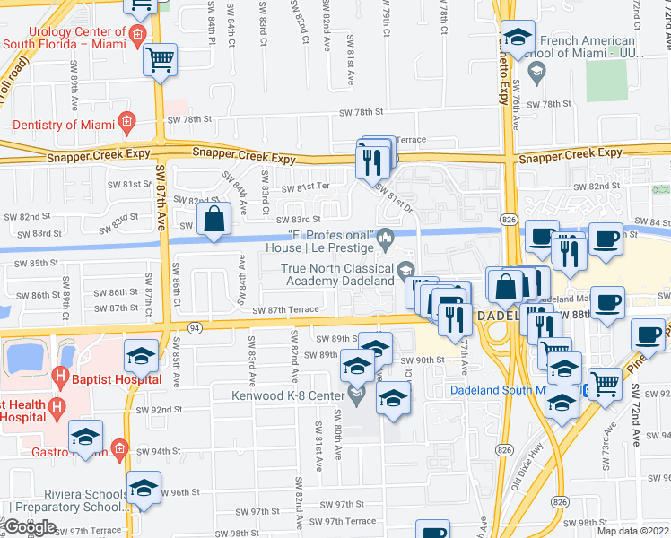 map of restaurants, bars, coffee shops, grocery stores, and more near Southwest 82nd Avenue in Miami
