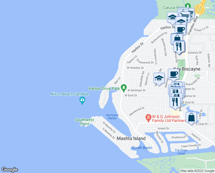 map of restaurants, bars, coffee shops, grocery stores, and more near 7 Harbor Point in Key Biscayne