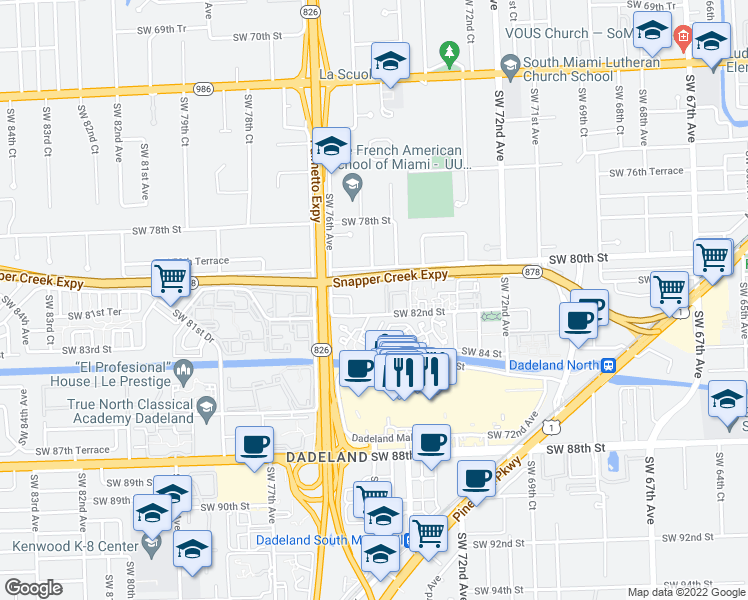 map of restaurants, bars, coffee shops, grocery stores, and more near 7473 Southwest 82nd Street in Miami