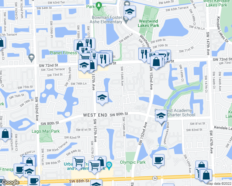 map of restaurants, bars, coffee shops, grocery stores, and more near 15410 Southwest 75th Circle Lane in Miami