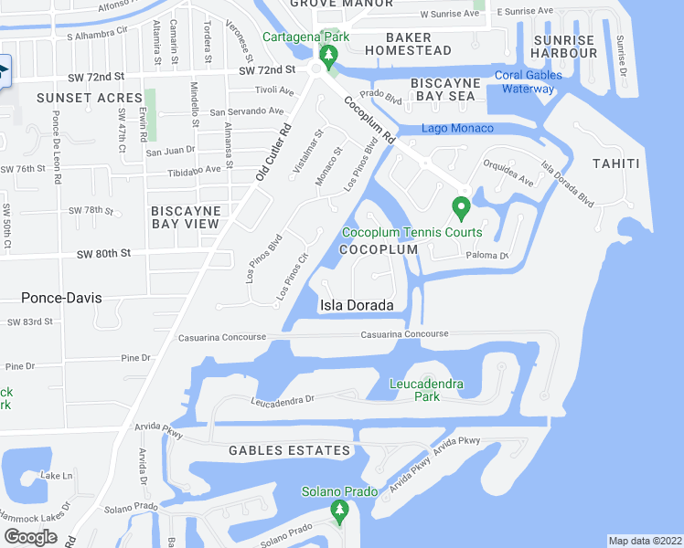 map of restaurants, bars, coffee shops, grocery stores, and more near 380 Isla Dorada Boulevard in Coral Gables