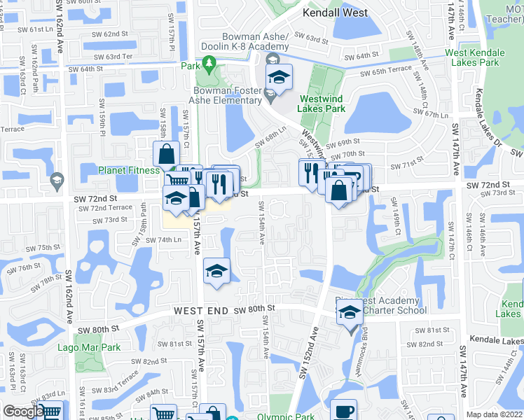 map of restaurants, bars, coffee shops, grocery stores, and more near 15619 SW 73rd Terrace Cir in Miami