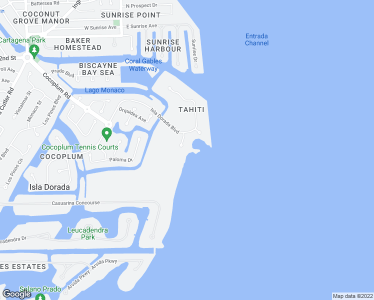 map of restaurants, bars, coffee shops, grocery stores, and more near 4 Tahiti Beach Island Road in Miami