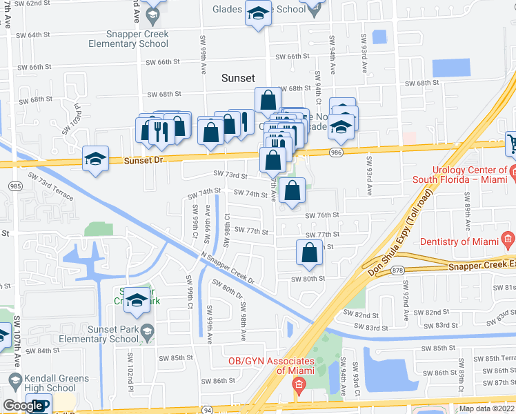 map of restaurants, bars, coffee shops, grocery stores, and more near Southwest 75th Street in Miami