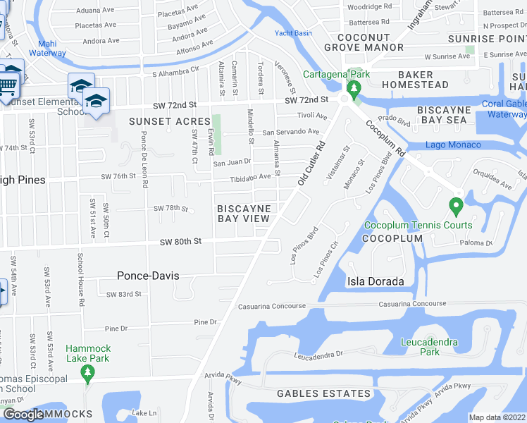 map of restaurants, bars, coffee shops, grocery stores, and more near 625 Puerta Avenue in Coral Gables