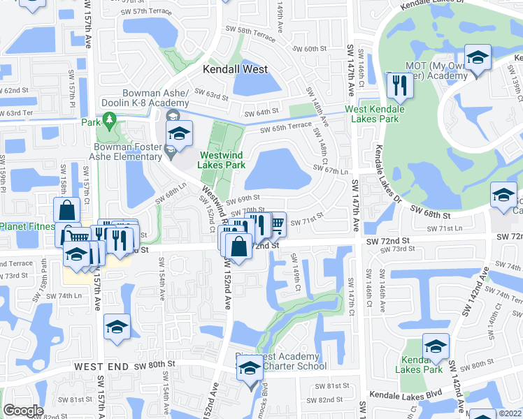 map of restaurants, bars, coffee shops, grocery stores, and more near Southwest 70th Street in Miami