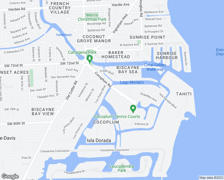 map of restaurants, bars, coffee shops, grocery stores, and more near 7100 West Lago Drive in Coral Gables