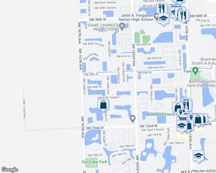 map of restaurants, bars, coffee shops, grocery stores, and more near 6605 Southwest 164th Avenue in Miami